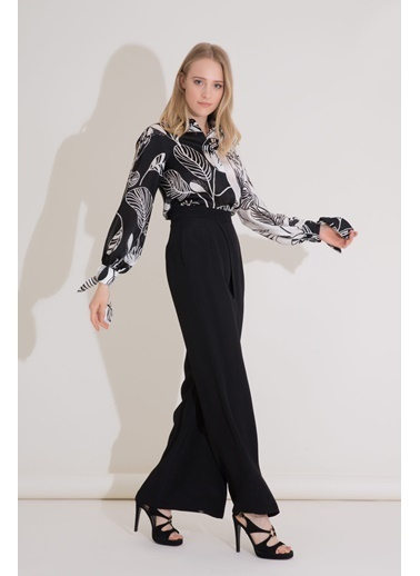 GIZIA Bağlama Detaylı Desenli Siyah Beyaz Ipekli Bluz Siyah